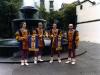 L-R Chuck Lirette, EC, Mark Gould, and Steve Ametrano dressed like fools at the Madeira Bach Festival