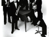 New York Trumpet Ensemble, 1984, L-R Jeff Curnow, Scott Thornburg, Dave Bilger, Mark Gould, Ed Brewer, EC. This was a serious band